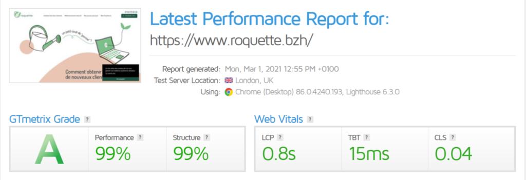 Les scores du site de notre agence web sur GTmetrix. À droite, les web vitals.