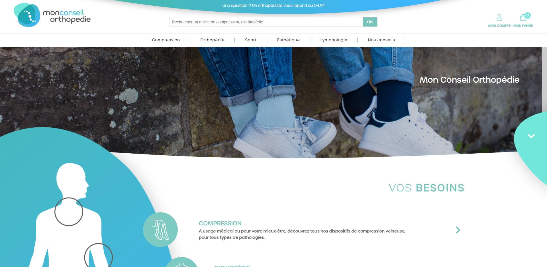 Mon conseil orthopedie : creation d'un site e commerce avec direction artistique