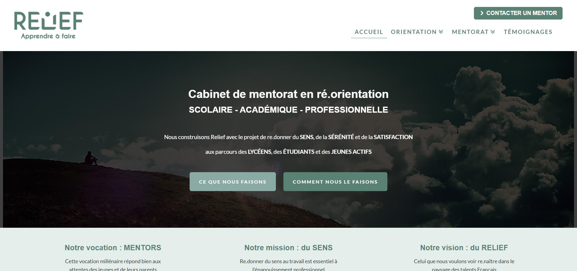 Site Internet pour organisme De Formation Réorientation Mentorat Cabinet Relief